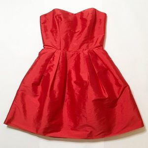 ASOS Red Satin Look Pleated Mini Party Dress Sz 8